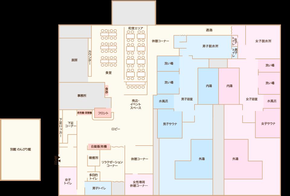 天宝の湯 店内マップ